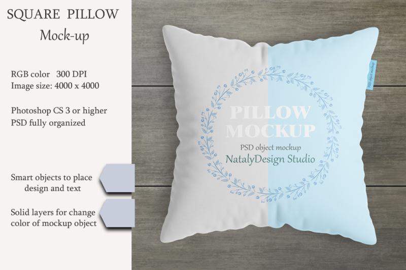 Free Square pillow mockup. Product mockup. (PSD Mockups)