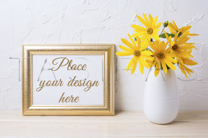 Free Landscape golden frame mockup with yellow rosinweed flowers. (PSD Mockups)