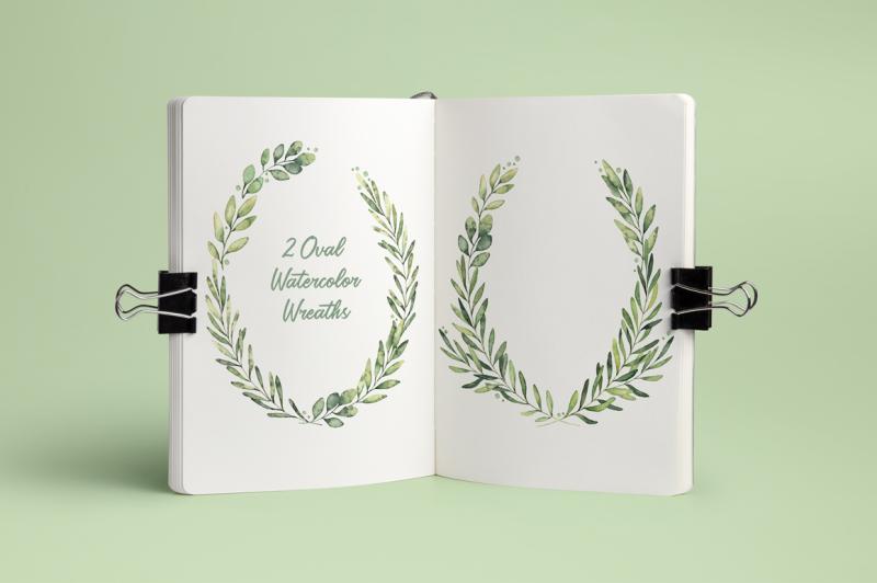 spring-foliage-watercolor-set