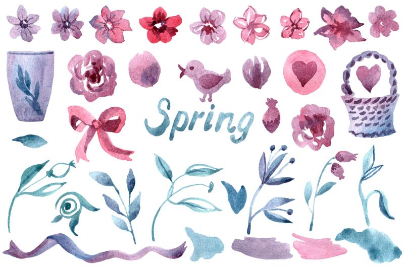 watercolor-spring-flower-set