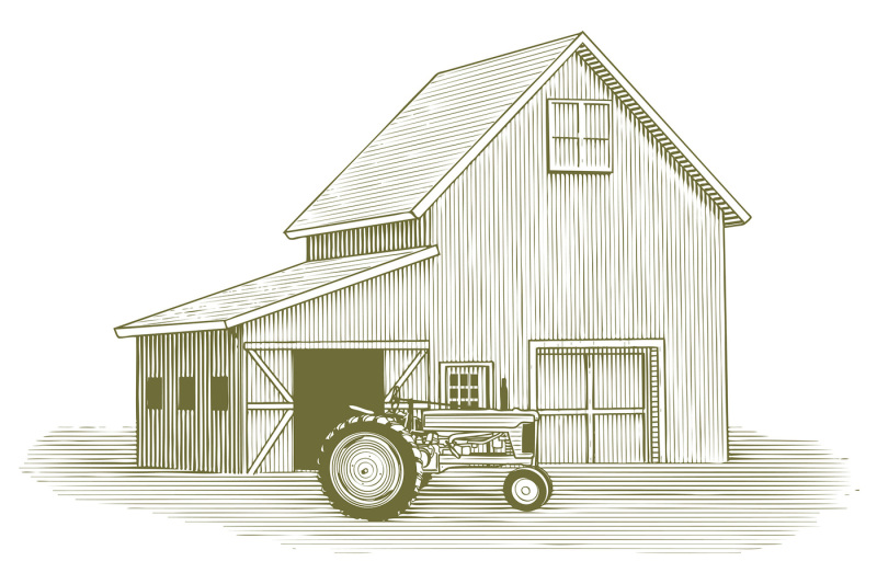 woodcut-tractor-and-barn
