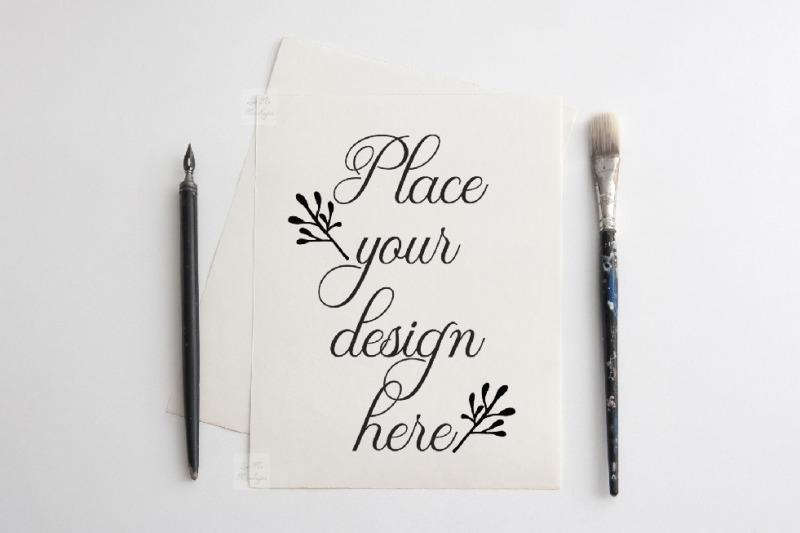Free Flatlay Paper mockup Page mock up 8x10 minimal print template psd (PSD Mockups)
