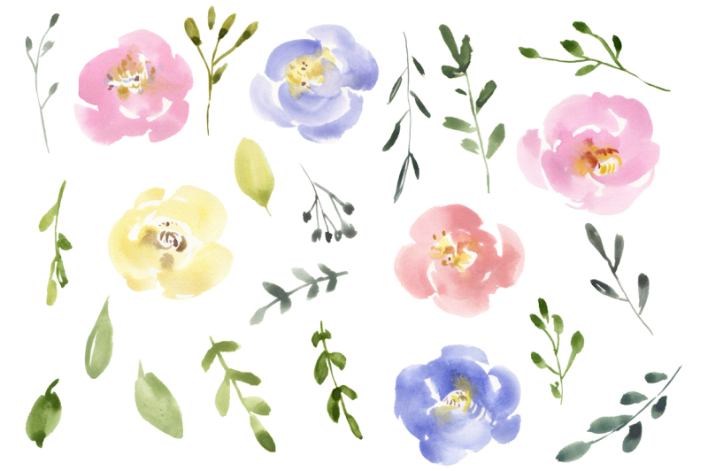 gentle-watercolor-pastel-flowers-collection