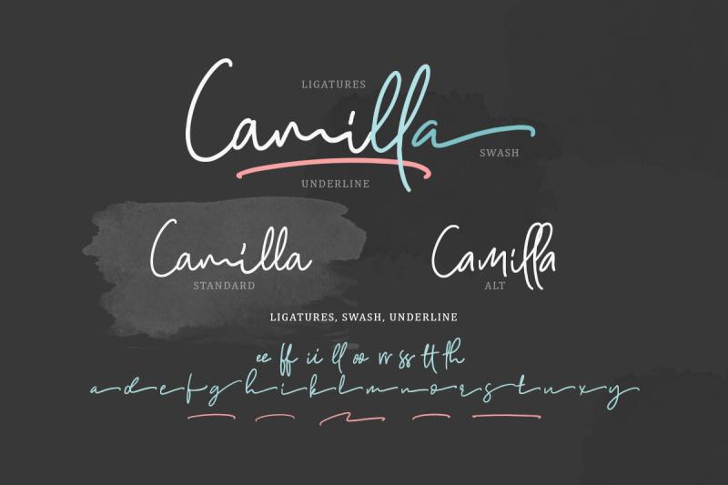 camilla-signature-script-6-fonts