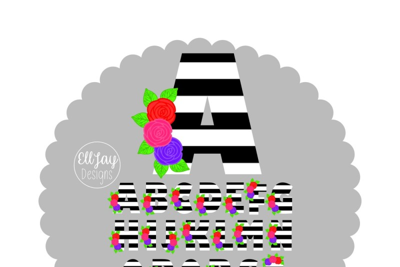 bw-stripe-floral-letters-a-to-z-and-free-monogram-frame