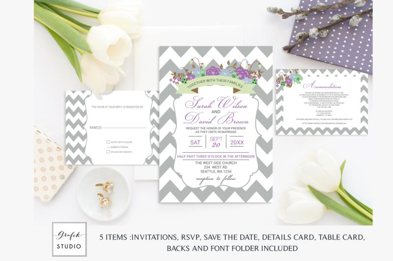 purple-and-mint-chevron-floral-wedding-invitation-template