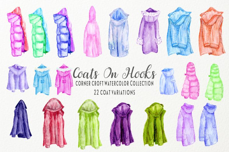 watercolor-coats-on-coat-rack