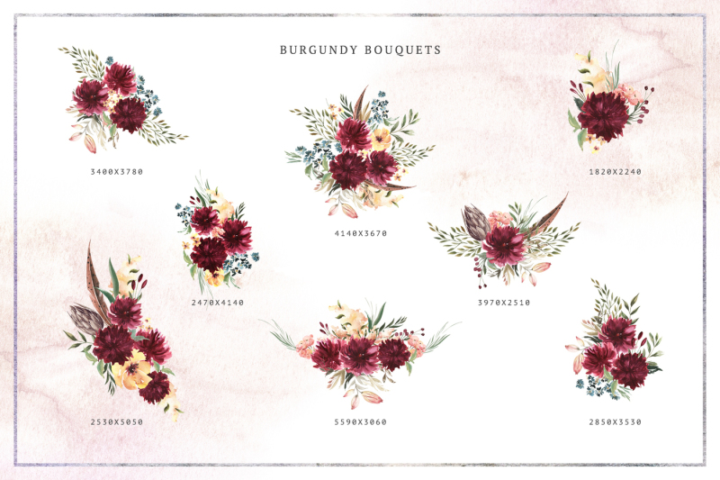 burgundy-bouquets-and-animals