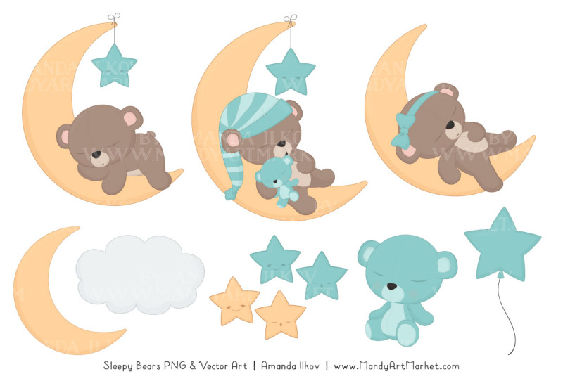 beary-cute-sleepy-bears-clipart-and-papers-set-in-aqua