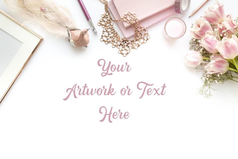 Free Blush Pink desktop flatlay (PSD Mockups)