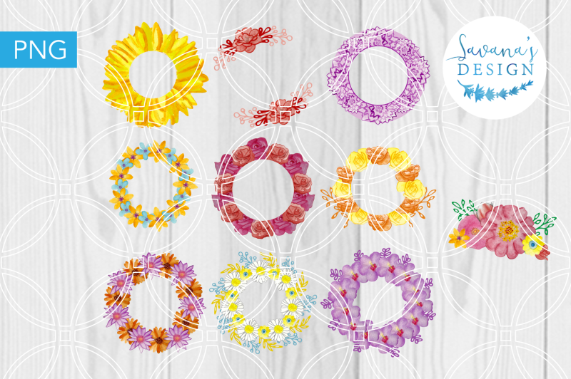 watercolor-wreaths-handpainted-flowers-logo-design-floral-clipart