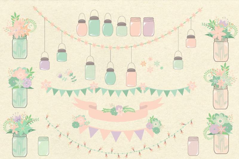 pink-and-mint-mason-jars-clipart