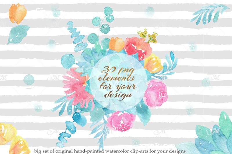 watercolor-bouquet-clip-arts-psd-png