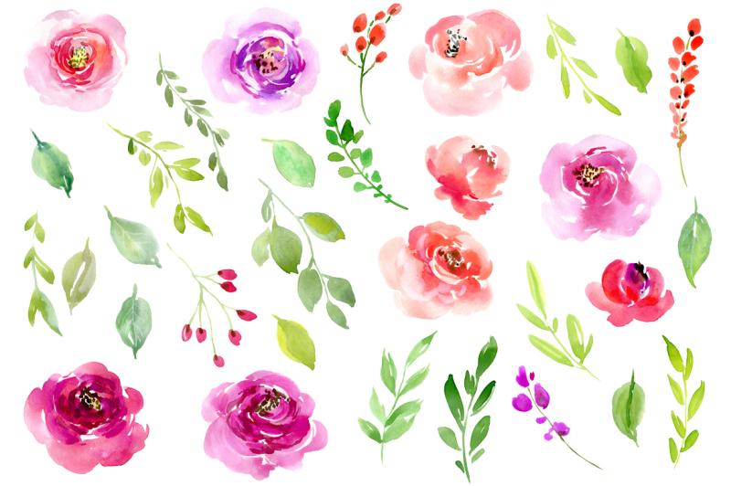 watercolor-flowers-leaves-roses-png