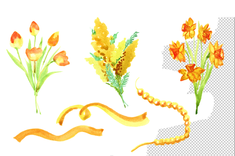 watercolor-yellow-spring-flowers