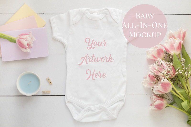 Free Babygrow, romper suit, onsie mockup with pink tulips and easter (PSD Mockups)