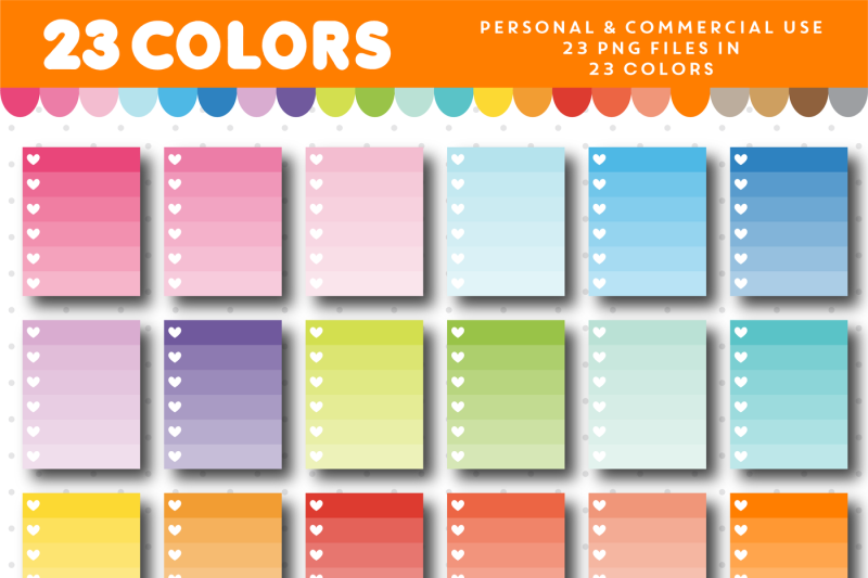 checkbox-clipart-with-6-rows-in-ombre-colors-with-hearts-cl-957