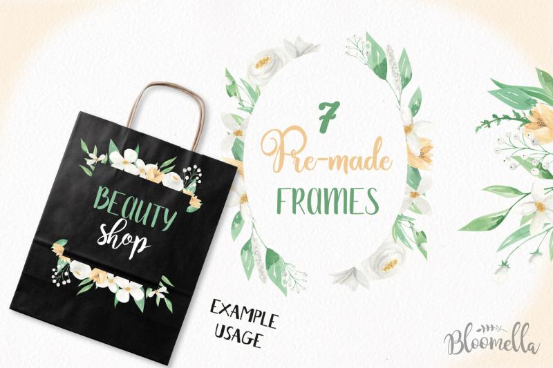 floral-frames-white-and-lemon-flowers-green-leaves-leaf-borders
