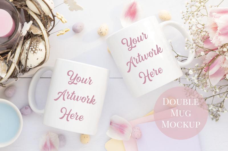 Free Double Mug Mockup - Spring/Easter (PSD Mockups)