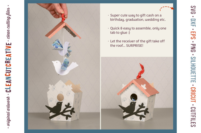 give-money-cash-gift-money-bird-and-birdhouse-3d-craft-svg-dxf-eps
