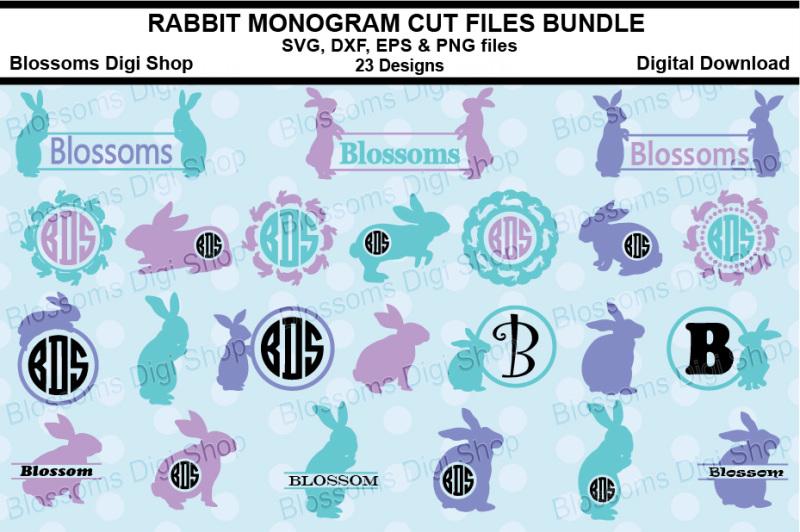 rabbit-monograms-bundle-svg-eps-dxf-and-eps-files