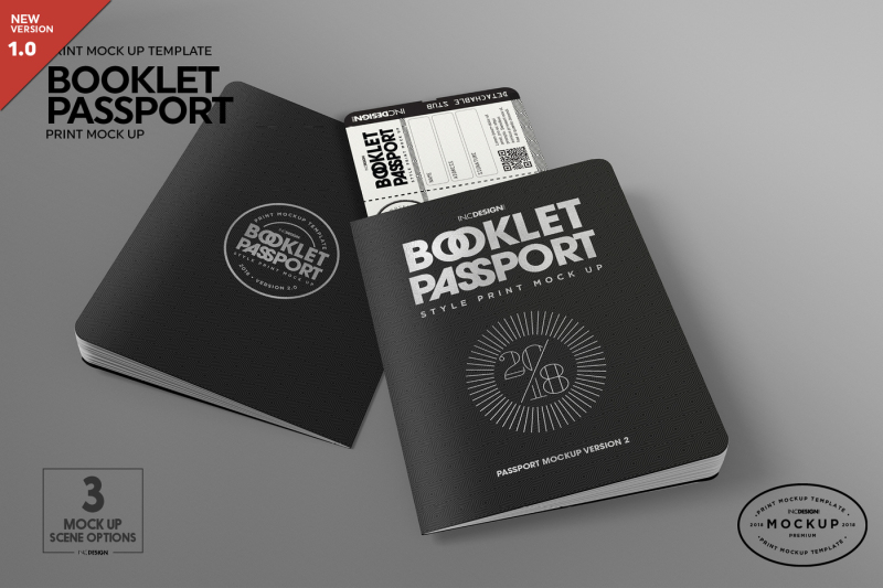 Free Booklet Passport Print MockUp (PSD Mockups)