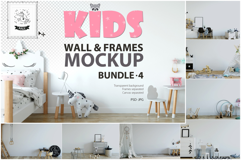 Free KIDS WALL &FRAMES Mockup Bundle - 4 (PSD Mockups)