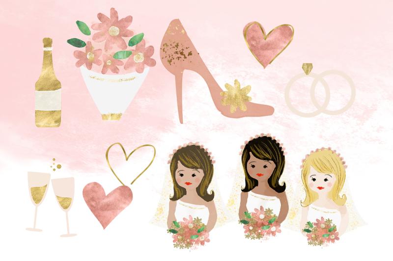 wedding-clip-art-bride-bouquet-cake-glitter-graphics-wedding-planner