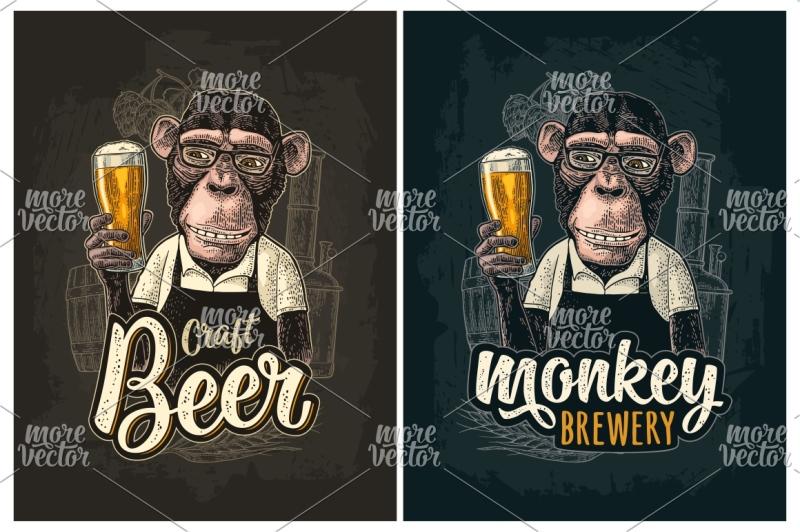 monkey-dressed-apron-hold-beer-glass-vintage-color-engraving