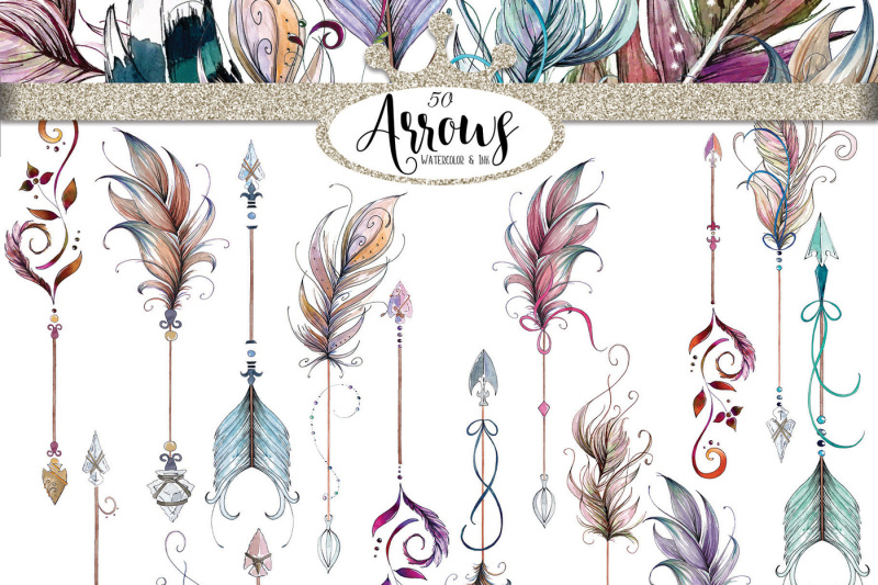 watercolor-and-ink-boho-arrows-clipart