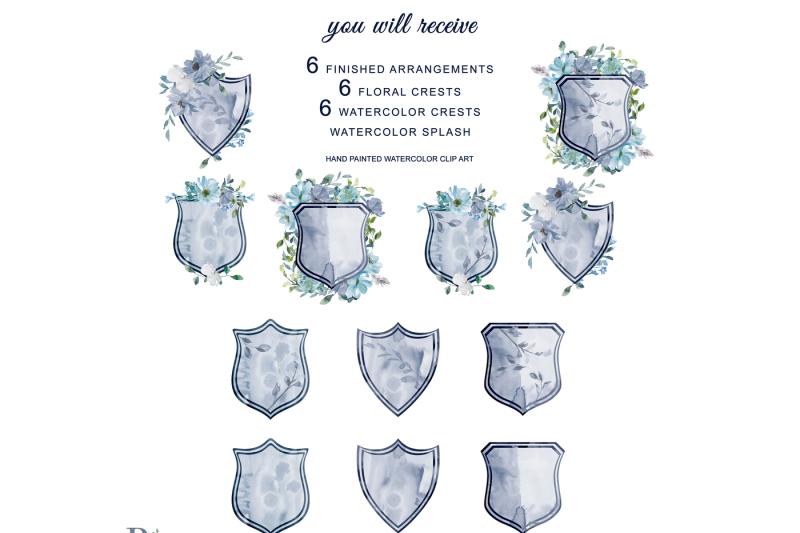 watercolor-french-blue-flowers-arrangement-clipart-floral-crest-hand-p