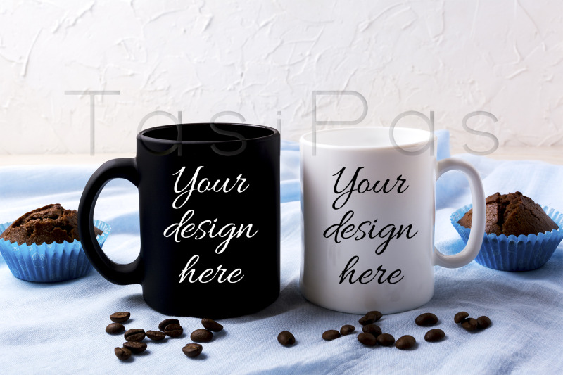 Free White and black mug mockup with coffee beans and muffins (PSD Mockups)