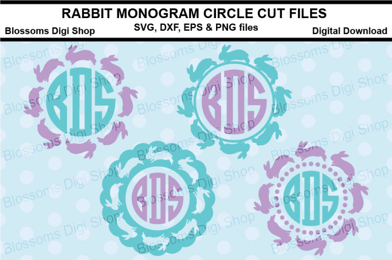 rabbit-monogram-circle-cut-files-svg-dxf-eps-and-png-files