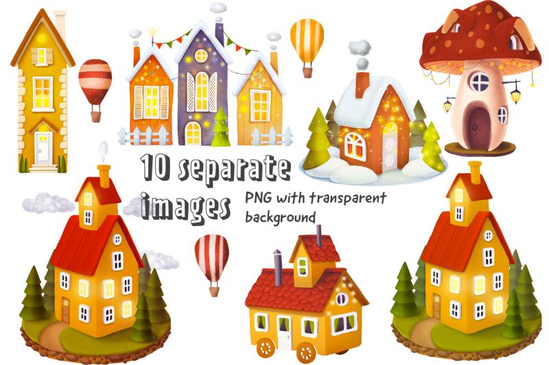 set-of-beautiful-houses