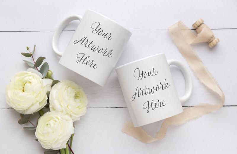 Free Wedding Double Mug Mockup (PSD Mockups)