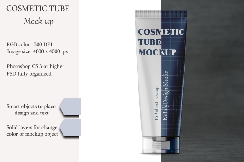 Download Cosmetic tube mockup. Transparent lid. Product mockup. Free Mockups