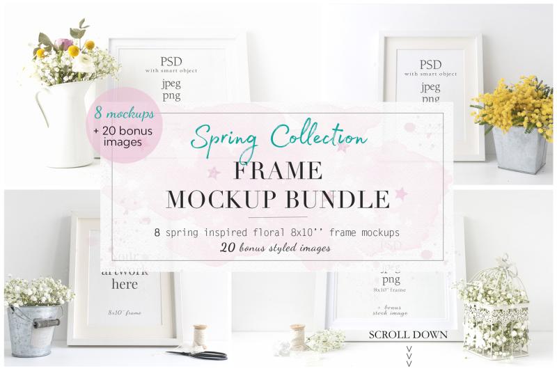 Free Spring Floral 8× Frame Mockup Bundle (PSD Mockups)
