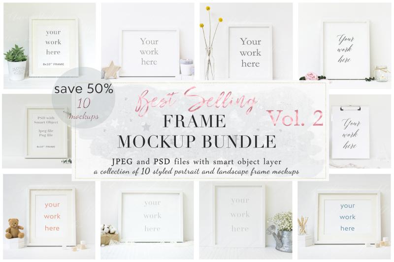Free 10× Floral Frame Mockup Bundle (PSD Mockups)