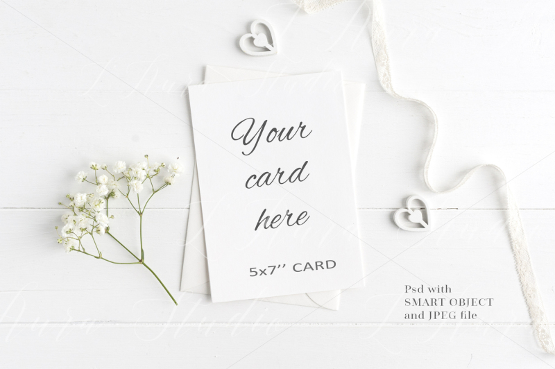Free Wedding Floral 5x7 Card Mockup - crd214 (PSD Mockups)
