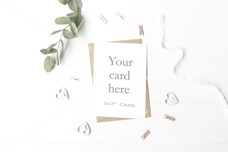 Free 5x7 inch Wedding Kraft Card Mockup - crd153 (PSD Mockups)