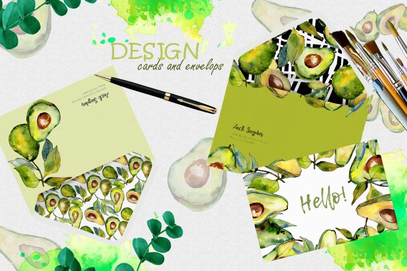 avocado-event-png-watercolor-set