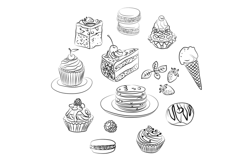 set-of-cake-sketch-in-vector