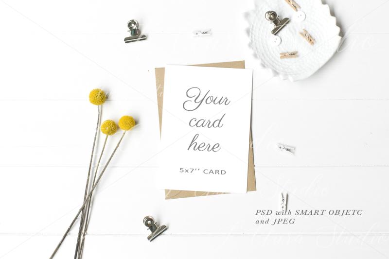 Free Wedding Stationery 5x7'' Mockup - crd167 (PSD Mockups)