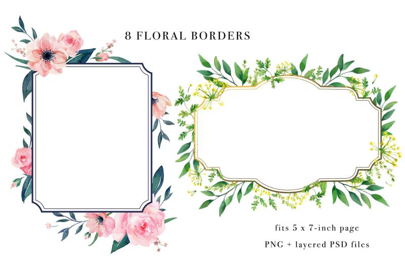 floral-borders-watercolor-design-set