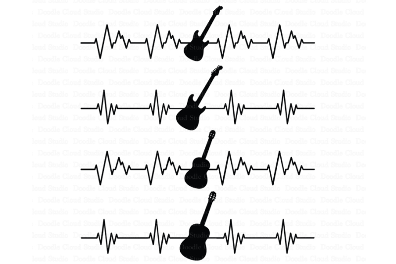 heartbeat-electric-and-acoustic-guitar-svg-files