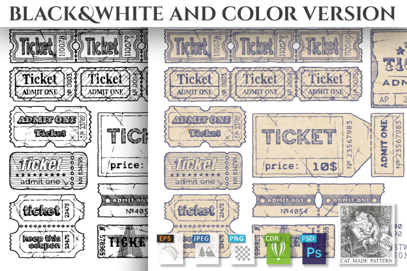 retro-tickets-set