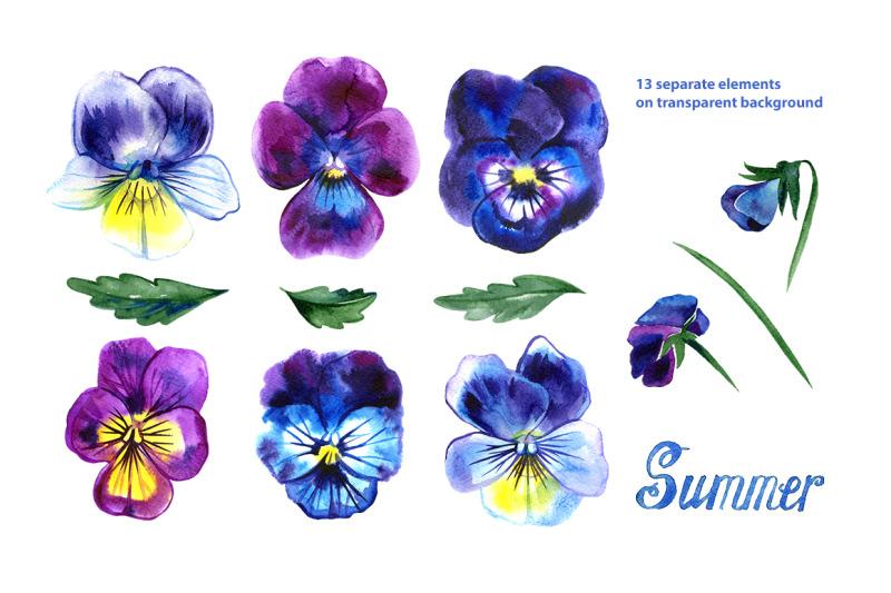 watercolor-pansy-set