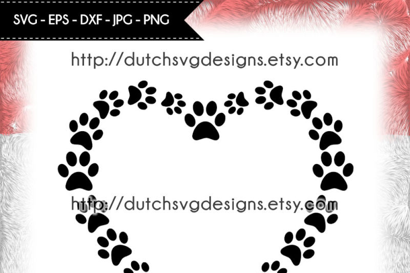 Cutting File Pawprints In Heart Shape Heart Svg Dog Love Svg By