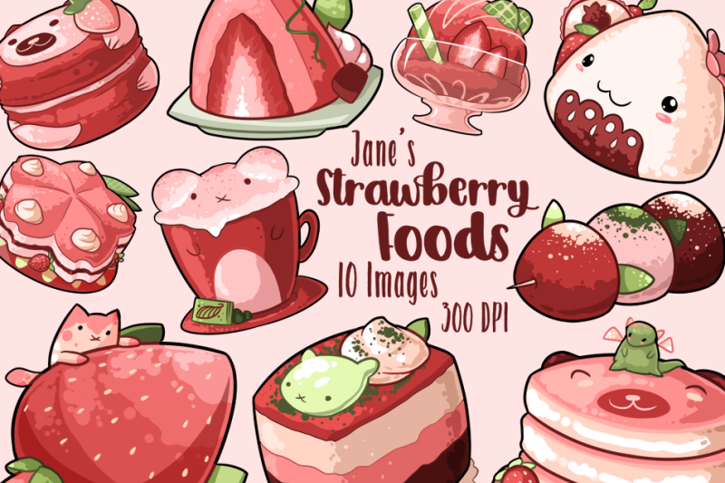 watercolor-kawaii-strawberry-foods-clipart