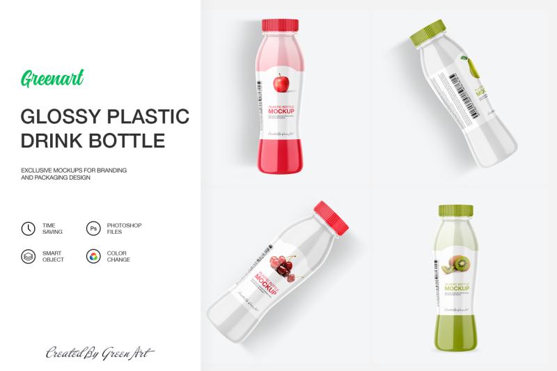 Free Glossy Plastic Bottle Mockup (PSD Mockups)
